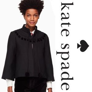 Kate Spade Pom Embroidered Black Wool Jacket*NWT